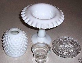 Fenton Hobnail Milk Glass 4 Piece Fairy Lamp Separated