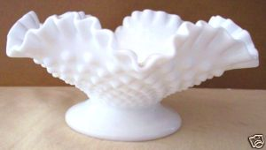 Fenton Hobnail Milk Glass Candy Dish with Pedestal