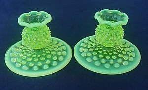 Fenton Hobnail Opalescent Vaseline Candlestick Holders