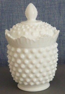 Fenton Hobnail White Milk Glass Sugar Bowl & Cover