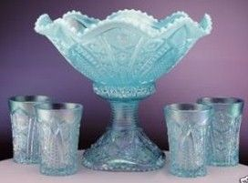 Fenton Hobstar Aquamarine Opalescent Punch Bowl Set
