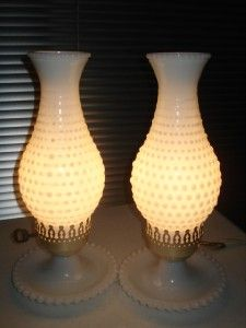 Fenton Hurricane Hobnail Milk Glass Lamps
