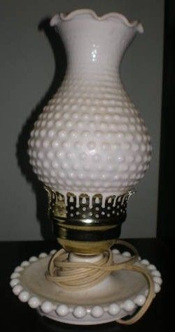 Fenton Milk Glass Hobnail Hurriane Table Lamp