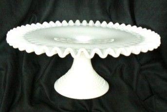 Fenton Milk Glass Hobnail Pedestal Cake Plate