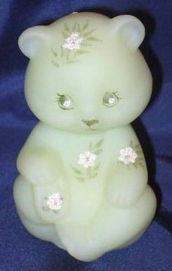 Fenton Bear Pink Blossoms on Satin Custard