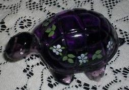 Fenton Purple Glass Turtle Hand Painted Floral