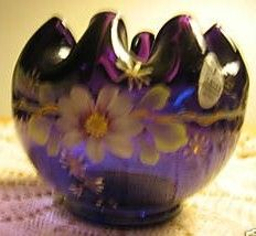 Fenton Purple Rose Bowl 75th Anniversary
