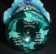 Fenton QVC 12 family Signatures Bottom View November 1999 Show