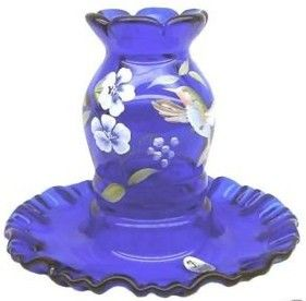 Fenton QVC Cobalt Fairy Light Museum Collection 2004
