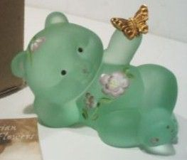 Fenton QVC Frosted Green Reclining Bear