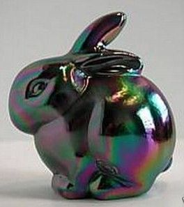 Fenton Rabbit Black amethyst with purple iridescent