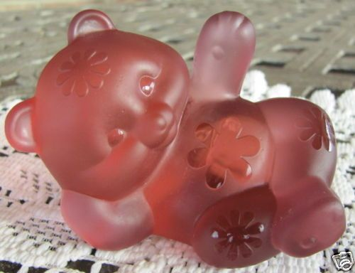 Fenton Rose Pink Satin Sand Carved Reclining Bear