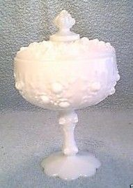 Fenton Rose Milk Glass Covered Candy Dish