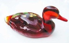 Fenton Ruby Glass Mallard Duck