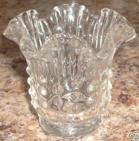 Fenton Ruffle Rim Hobnail Clear Candle Holder