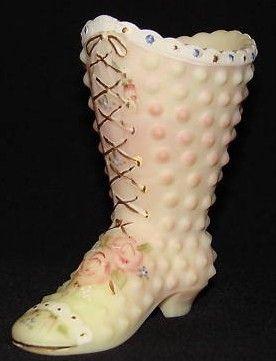 Fenton Satin Glass Hand Painted Boot