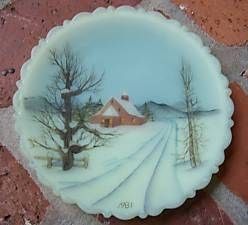 Fenton Satin Glass Hand Painted Plate 1981