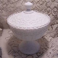 Fenton Silver Crest Spanish Lace Covered Candy Dish