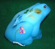 Fenton Sky blue Frog Figurine Hand Painted Floral