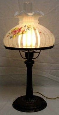 Fenton Table Student Lamp Handpainted Roses