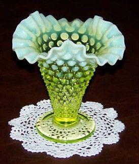 Fenton Vaseline Opalescent Hobnail Vase