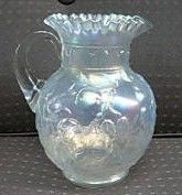 Fenton White Apple Tree Carnival Glass Pitcher