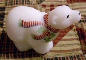 Fenton Polar Bear with Holly and Red Scarf