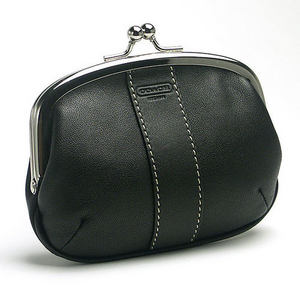 Framed Leather Coin Purse with kiss lock closure 60294