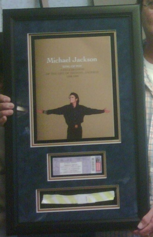 Framed MJ Memorial Service Brochure, Wristband and Ticket