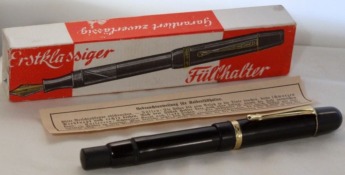 German Diverse Black Hard Rubber Fountain Pen New Old Stock