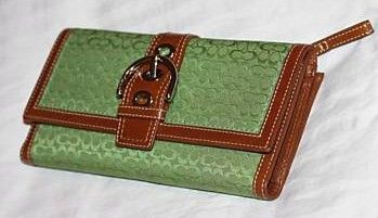 Green Mini Signature Checkbook Wallet