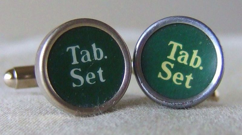 Green Typewriter Function Key Cufflinks