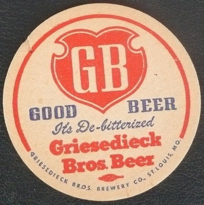 Griesedieck Bros Beer Coaster GB St Louis Missouri