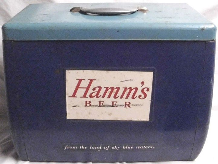 Hamm's Beer Picnic Metal Cooler 1950s
