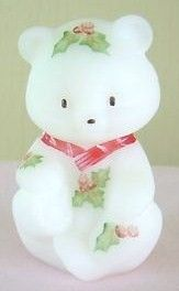Hand Painted Fenton Christmas Bear Holiday Happiness 2005