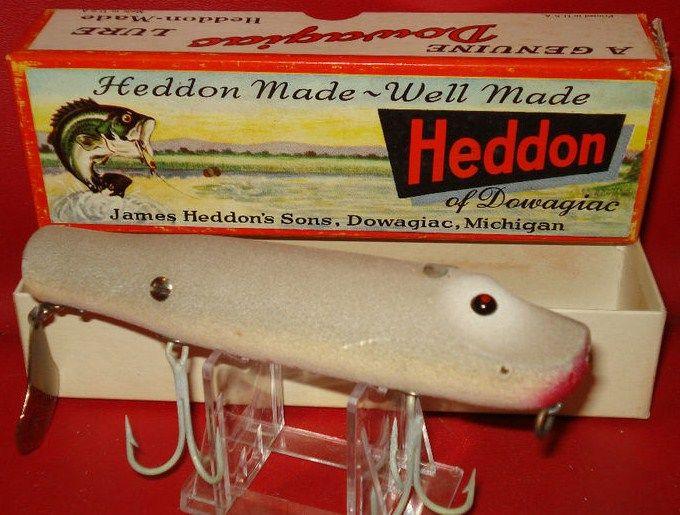 Heddon Husky Flaptail 7040 GM Vintage Wood Lure w Box