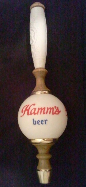 Hamms Beer Ceramic Ball Brass Wood Tapper wMolded Tap Handle