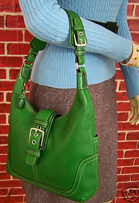 Hamptons Leather Hobo Mint Green on Model