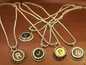 Handmade Typewriter Key Necklaces with Initials