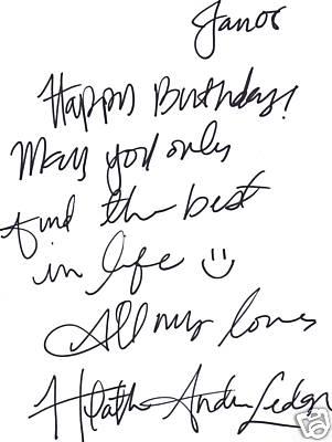 Heath Ledger Authentic Signature Autograph