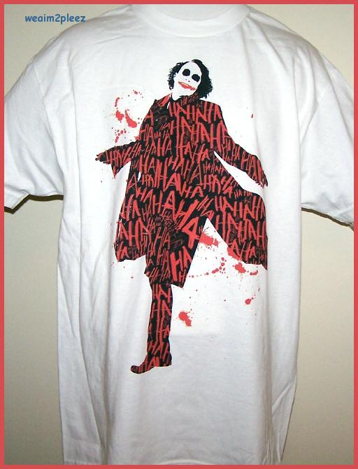 Heath Ledger Tee Shirt Ha Ha Red White