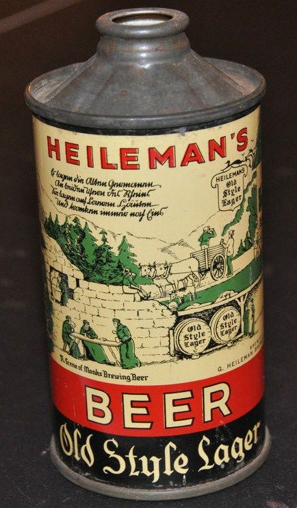 Heileman's Beer Old Style Lager Cone Top Flat Bottom