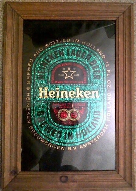 Heineken beer Wood Framed Mirror