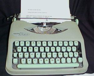 Swiss Made Hermes Green Portable Manual Typewriter
