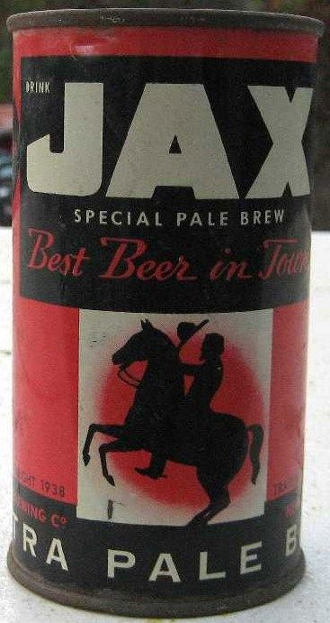 JAX Red & Black 1938 Flat Top Beer Can
