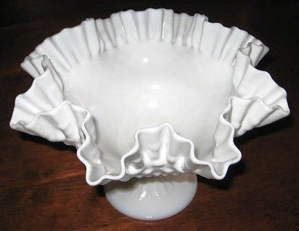 Large Milkglass Ruffled Fenton Bowl