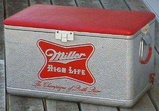 Vintage Miller Beer Picnic Cooler w Padded Seat