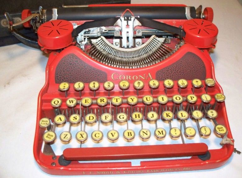 LC Smith-Corona Red Typewriter