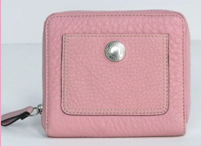 Ladies Pebble Leather Pink Zip Around Wallet