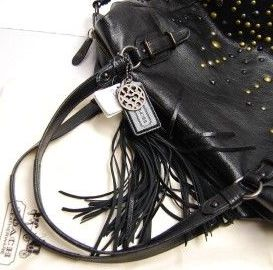 Coach Studded Leather Alexandra Black Top View